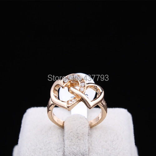 Wholesale New Jewelry Gold Color Unique Korean Design Rhinestone Double Hearts Finger Ring High Quality R410