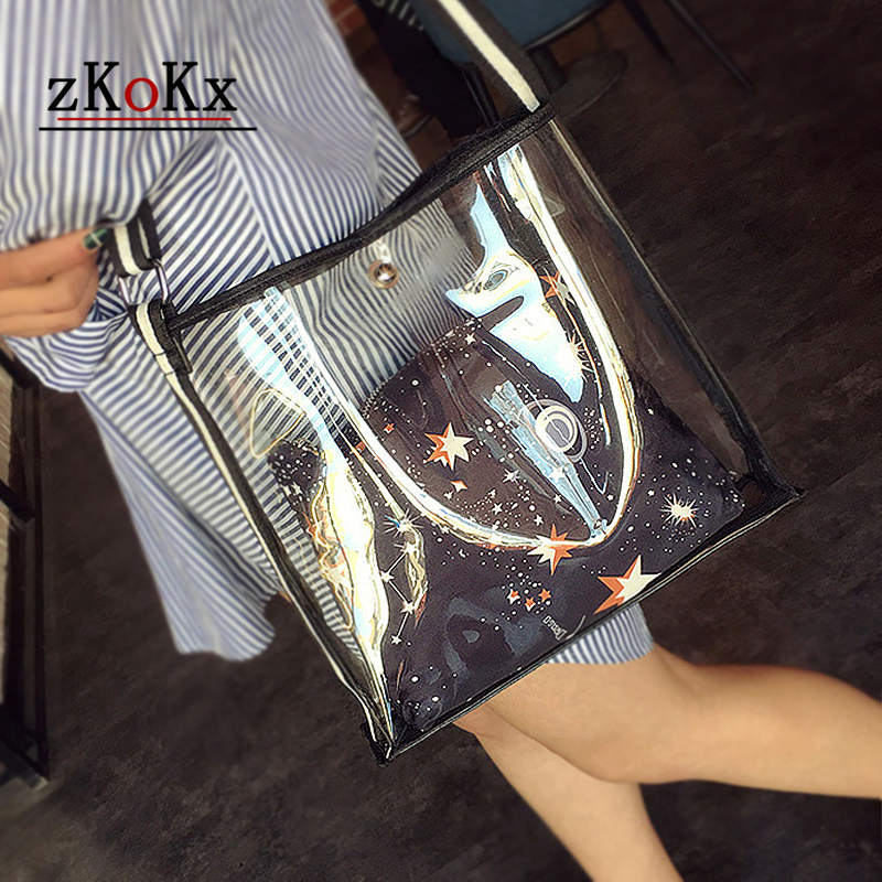 Women  Transparent Fashion Beach Bag Female Two In One High Quality  Shoulder Bag Large Summer Comfortable Clear Bag