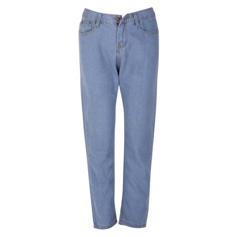 Lady High Waist Washed Light Blue True Denim Pants Boyfriend Jean Femme Women Jeans Pants