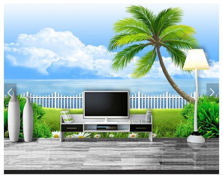 3d Large Wall Mural Wallpaper Hd Balcony Window Beach Sea: Customized 3d Photo Wallpaper 3d Wall Mural Wallpaper Hd