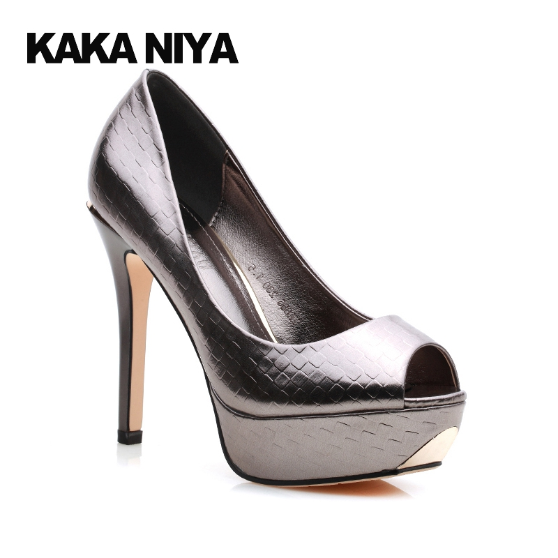 227ca0d9006 12cm 5 Inch Party Extreme Scarpin High Heels Silver Platform Women Shoes  Fish Mouth Pumps Gun Color 2017 Peep Toe 4 34 Small-in Women s Pumps from  Shoes on ...