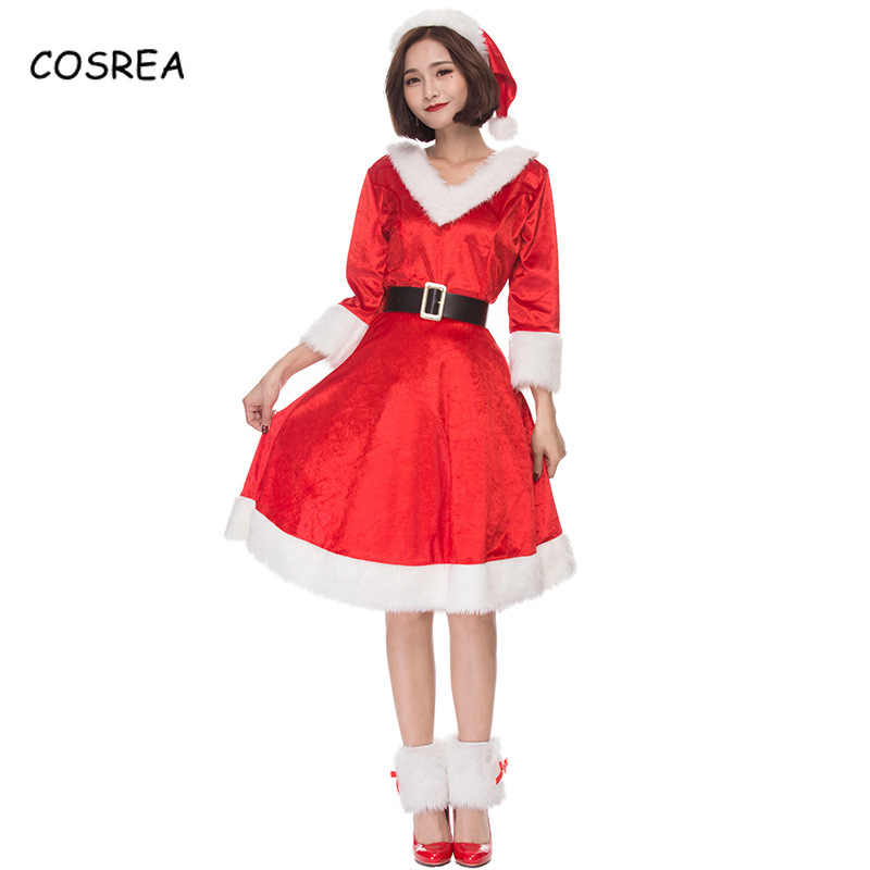 Red Dresses Christmas Dress Hat Belt Boots Covers Santa Claus Snowman Party  Wear Princess Clothing Beanies 2f4320e12