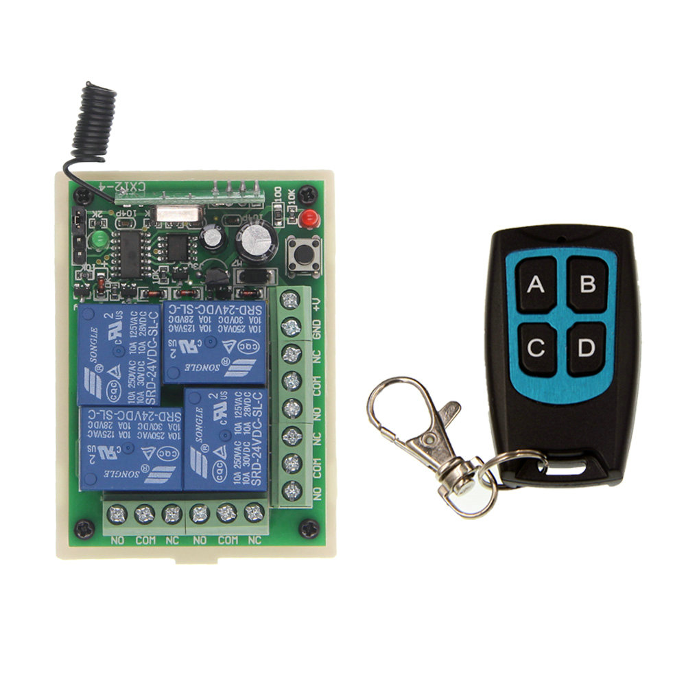 DC 12V 24V 4 CH 4CH RF Wireless Remote Control Switch System, Waterproof Transmitter + Receiver,315/433.92MHz