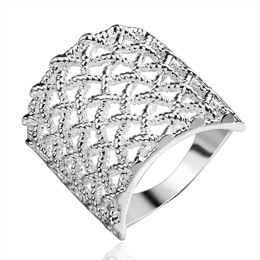Beautiful Net Grid Hollow Out Ring Large Wrap Full Finger Knuckle Joint Ring Ladies  Jewelry Silver Plated Fashion Jewelry