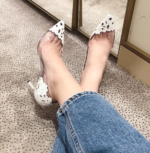 Carpaton/женские туфли на высоком каблуке; Туфли на тонком каблуке с острым носком и кружевом в стиле пэчворк; белые свадебные женские туфли на шпильке - 3