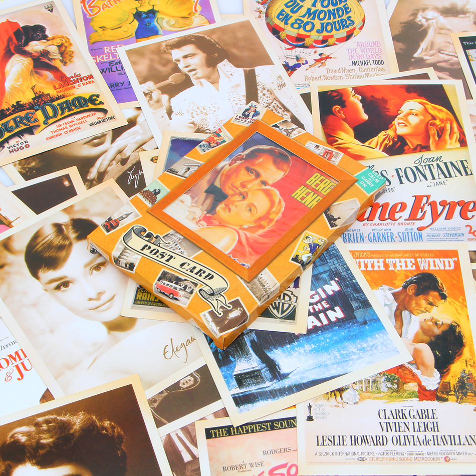32pcsset Vintage Movie Star Style Poster Drawing Post Card Set