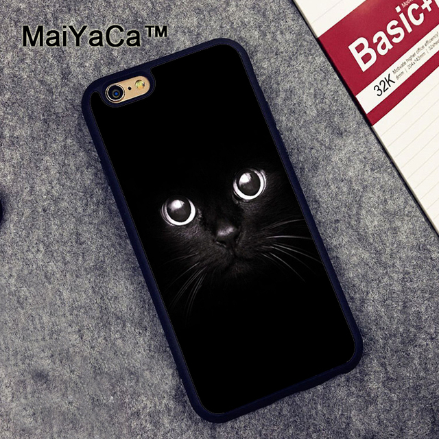 sale retailer 7b5f8 7fa4a US $4.15 5% OFF MaiYaCa Black Cat Eyes Animal Printed Soft Rubber Phone  Cases For iPhone 6 6S Plus 7 8 Plus 5 5S 5C SE X Back Cover Skin Shell-in  ...