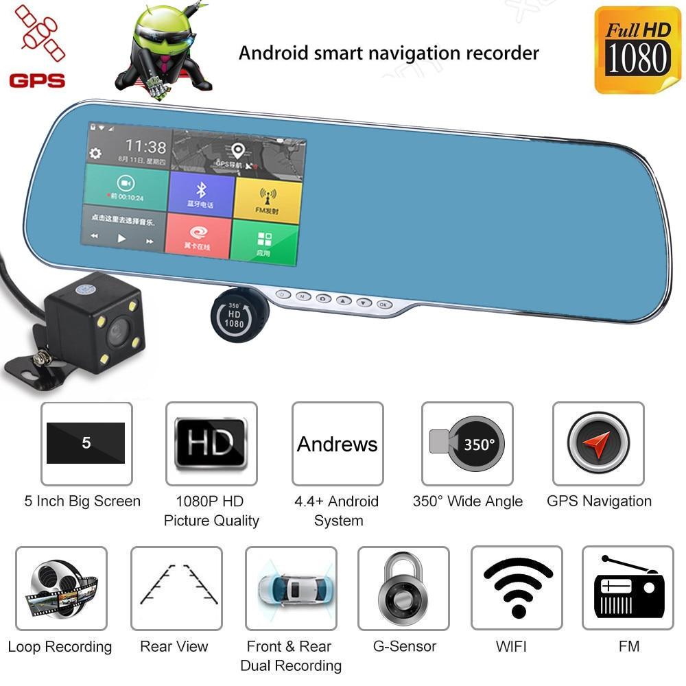 Willtoo Android Dual Lens 5 INCH HD 1080P Car DVR GPS Navigation Rearview Mirror Camera Wifi gps навигатор lexand sa5 hd