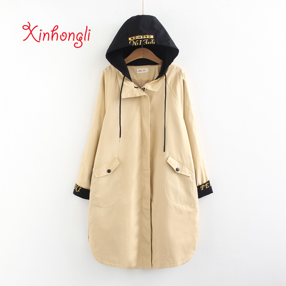 Plus size women Embroidery hooded long   trench   2019 spring NEW casual ladies pockets drop shoulder coats female cotton Canvas