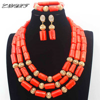 African Orange Coral Beads Jewelry Set earrings Nigerian Wedding Indian Costume Bridal Necklace Set Free Shipping L1127