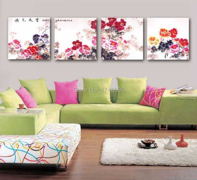 Peony Wall Art aliexpress : buy 4 pcs modern home wall decor watercolor peony