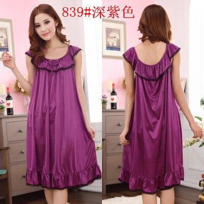 2018 Womens Summer Loose Long Sleepwear Plus Size Ladies Sexy Satin Lace Nightdress Girls Robe Ruffle Sleepshirts Nightgowns 3