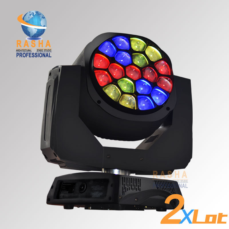 2X LOT Rasha 19pcs*12W 4in1 RGBW LED Big Bee Eye Moving Head Beam+Wash Light For Event Party,LED Moving Head Beam,B EYE