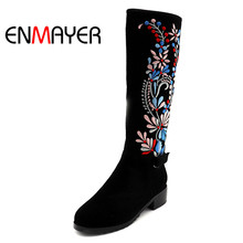 ENMAYER Knee-High Winter Boots Zipper Round Toe Shoes Genuine Leather Flat Boots for Ladies Large Size 34-43 Flock Women Shoes