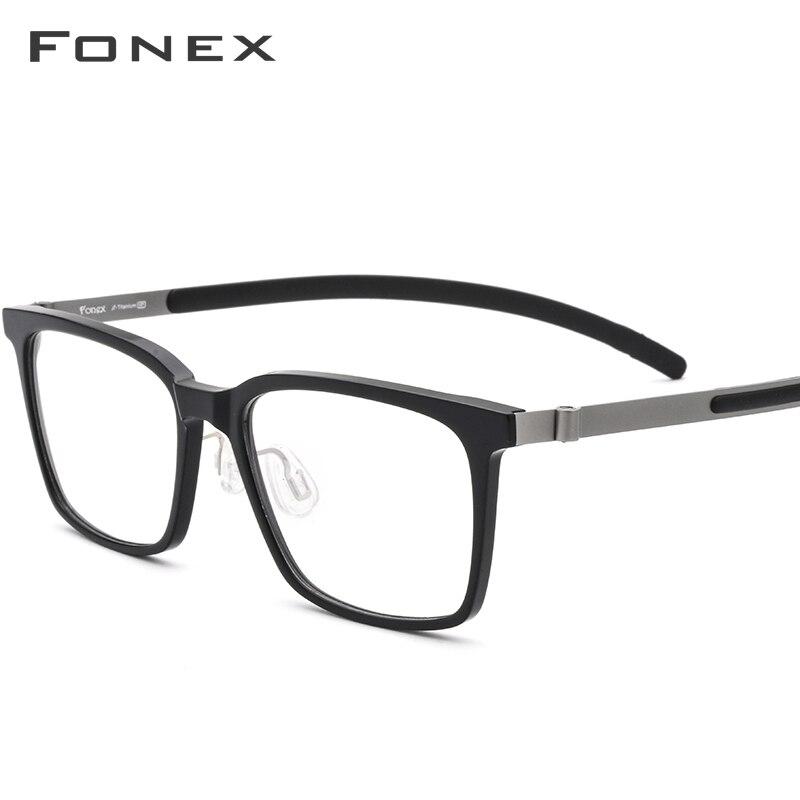 FONEX pur titane lunettes cadre hommes acétate haute qualité carré myopie optique Prescription lunettes sans vis lunettes 9106