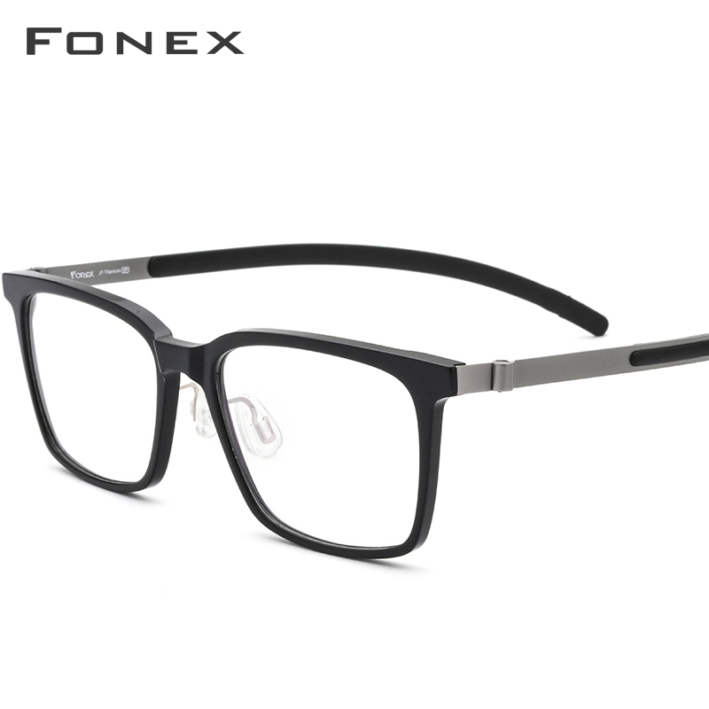 FONEX Pure Titanium Glasses Men Acetate High Quality Square Myopia Optical Eyeglasses Frame Prescription Screwless Eyewear 9106
