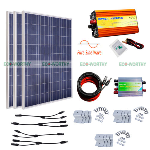 3PCS 100W Poly Solar Panel Kit with 1KW 12V Pure Sine Wave Inverter 110V Off Grid System
