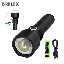 BRILEX Tactical Flashlight Rechargeable LED Torches Packed with 18650 Rechargeable Battery 2600mAh Adjustable Arm Classic Black.
