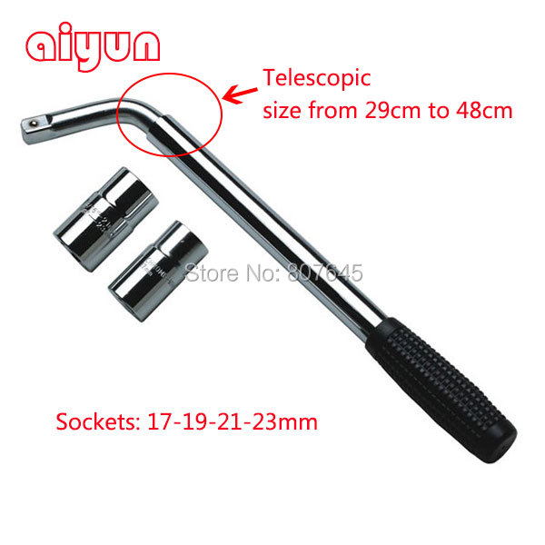 ФОТО L type cross wrench tire wrench for car auto repair tools two sockets 17-19-21-23mm