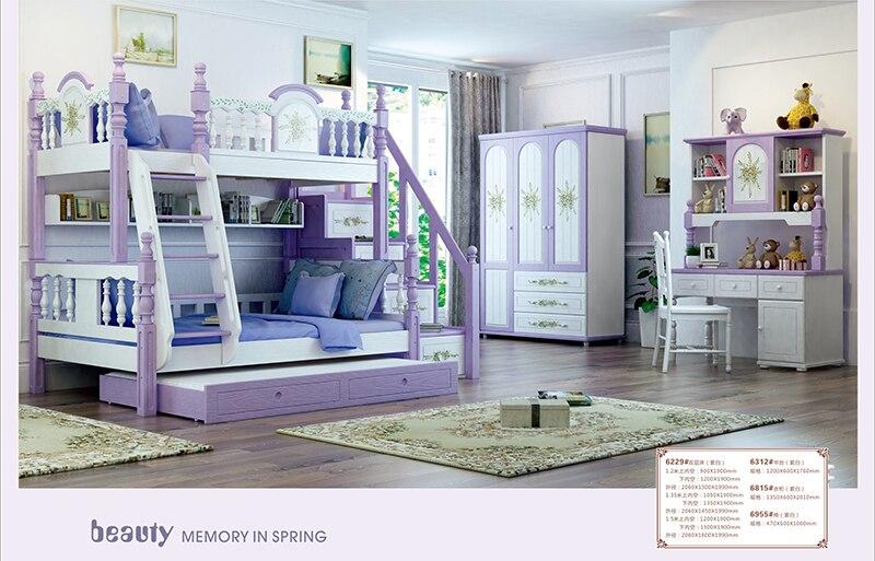 Foshan modern oak wood bunk beds kids bedroom furniture sets ...