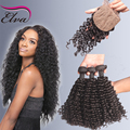 7A Brazilian Silk Base Closure With Bundle Deep Curly Virgin Hair 3 Bundles With Silk Closure,Human Hair Weave With Silk Closure