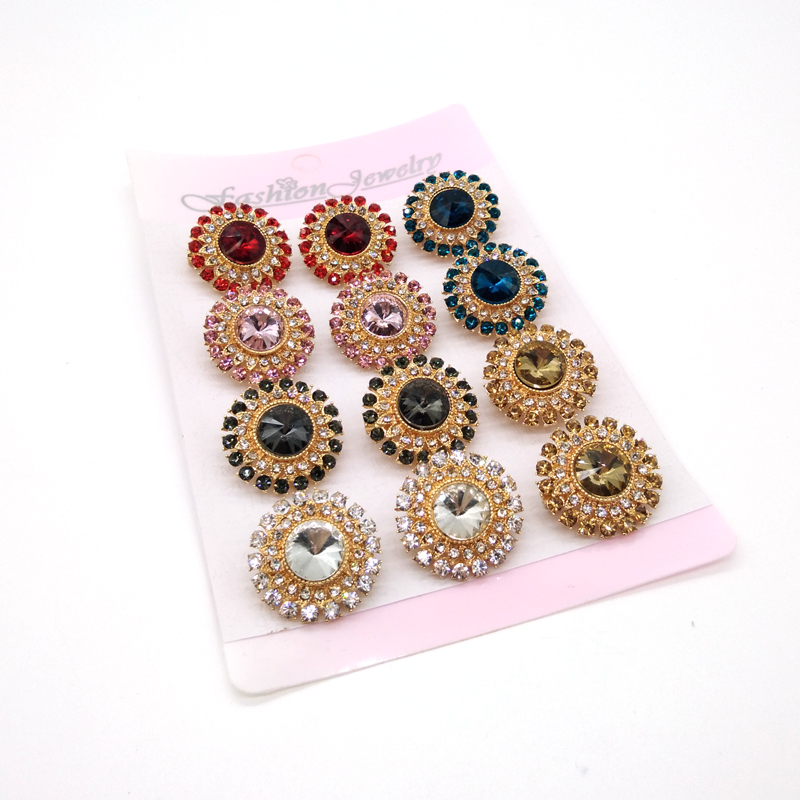 Mini Crystal Lapel Pins Hijab Pins Flower Brooches Wholesale 12PCS/Card Muslim For Women Safety Scarf Pin Hijab Pins Mixed