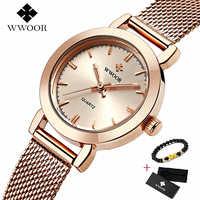 Relojes de pulsera WWOOR para mujer, reloj de cuarzo ultrafino, relojes de pulsera de horas casuales, relojes de pulsera, reloj de acero inoxidable para mujer