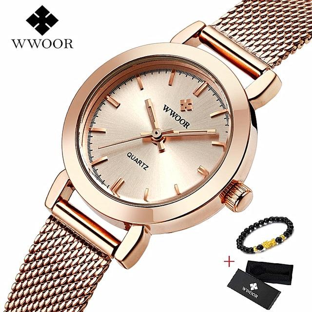 WWOOR גבירותיי יד שעונים עבור נשים אולטרה דק קוורץ שעון אופנה מקרית שעות צמיד שעונים reloj mujer acero inoxidable