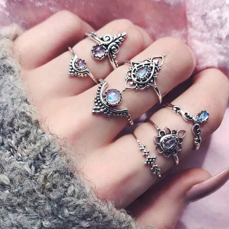 Punk Rings for Women Anel Unique Carved Antique Silver Elephant Totem Ring Set Boho Jewelry Vintage Bague Femme Anillos