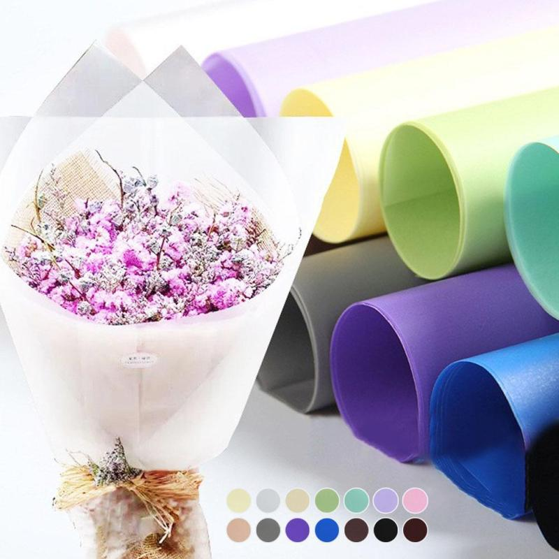 20pcs Half Clear Waterproof Flowers Wrapping Paper Gift Wrapping Paper Matte Flowers Bouquet Packaging Supplies Materials 3
