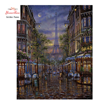 New Full Square Diamond 5D DIY Diamond Painting Paris Night View Embroidery Cross Stitch Rhinestone Mosaic