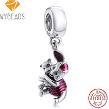 WYBEADS 925 Sterling Silver Piglet Pendant Transparent Cerise Enamel Charms European Bead Fit Bracelets DIY Accessories Jewelry