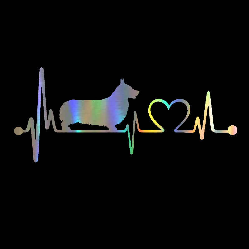 Car Sticker 3d 19*8.3cm Pembroke Welsh Corgi Heartbeat Dog Funny Sticker On Car Motorcycle Decals Vinly Car Styling Easy And Simple To Handle