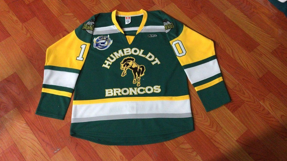 Humboldt Broncos #10 Straschnitzki # HumboldtStrong maillot de Hockey Double couture SJHL vertHumboldt Broncos #10 Straschnitzki # HumboldtStrong maillot de Hockey Double couture SJHL vert