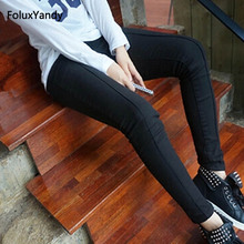 Skinny Pencil Pants Women Plus Size 3 4 5 XL Casual Slim Stretched Black Long Trousers OLL61-882