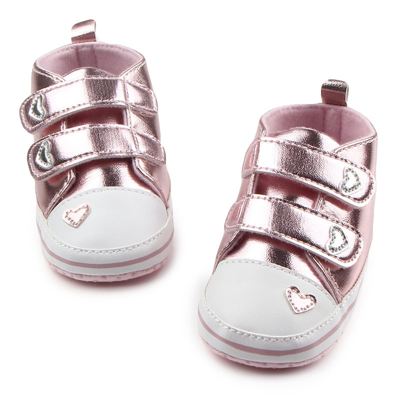 Autumn Newborn Baby Boys Girls Classic Heart-shaped PU Leather First Walkers Tennis Lace-Up Shoes