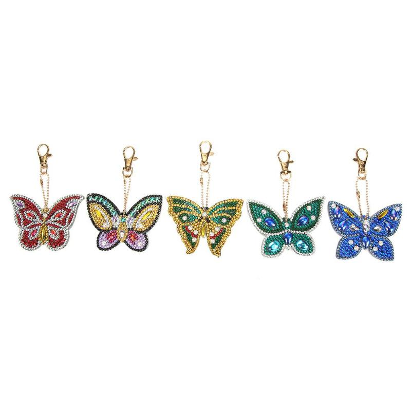 5pcs DIY Butterfly Full Drill Special Shaped Diamond Painting Keychain Gift