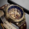 Steampunk Mechanische Uhr Skeleton Automatische Mechanische Herren Uhren Retro Leder Bronze Vintage Uhr Männer Uhr Mechanismus Mechanische Uhren Uhren -