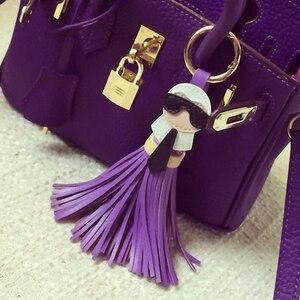 Симпатичная цепочка для ключей для женщин, сумка-безделушка Kar, брелок для ключей с кисточками, держатель с подвеской, кожаный брелок для ключей, K008-black