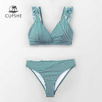 CUPSHE Cyan And White Stripe Double Straps Ruffle Bikini Sets Women Sweet Two Pieces Swimsuits 2019 Girl Beach Bathing Suits - DISCOUNT ITEM  47% OFF All Category