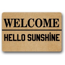 Door Mat Entrance Hello Sunshine welcome Doormat Non-slip 23.6 by 15.7 Inch Machine Washable Non-woven Fabric