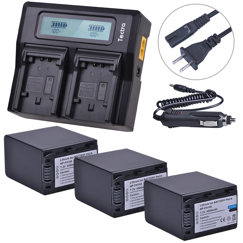 Tectra 3Pcs NP-FH100 NPFH100 NP FH100 Camera Battery + LCD Rapid Dual Charger For Sony DCR-SX40 SX40R SX41 HDR-CX105 SR42E SR45E durapro 4pcs np f970 np f960 npf960 npf970 battery lcd fast dual charger for sony hvr hd1000 v1j ccd trv26e dcr tr8000 plm a55