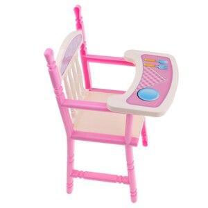 Розовый обеденный стул для детей ясельного возраста, модель для 9-11 дюймовых кукол Reborn Girl или других 25-28 см кукол, кукольный домик, декор мебе...