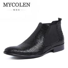 MYCOLEN Men's Boots Genuine Leather Winter Boots Brand Italian Luxury Winter Shoes Stone Pattern Leather Men Chelsea Boots