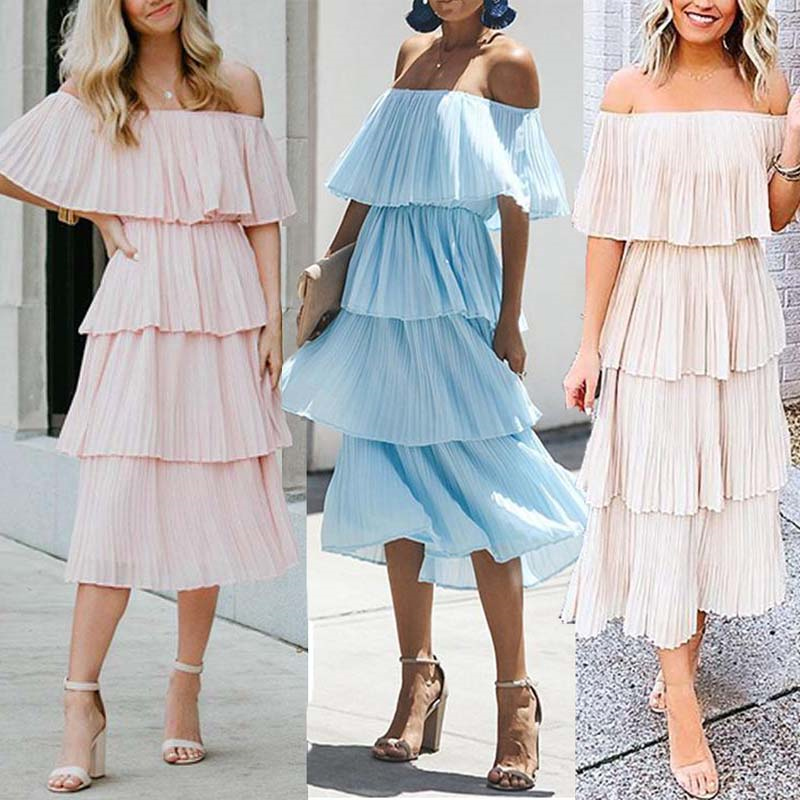 <font><b>Sexy</b></font> Off Shoulder <font><b>Women</b></font> Pleated long <font><b>dress</b></font> Ruffle Pink <font><b>elegant</b></font> Summer <font><b>dress</b></font> 2019 Casual <font><b>Chiffon</b></font> <font><b>fashion</b></font> female beach vestidos image