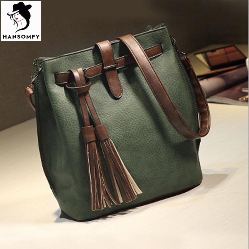 HANSOMFY Women Leather Handbags Vintage Bucket Shoulder Bags Tassel Solid Shopping Funk Versatile Popular Brand Crossbody