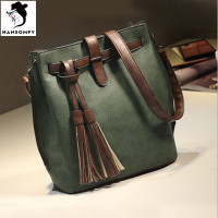 Fashion Tassel Buckets Bag Large Capacity Ladies Bag European And American Style Shoulder Bag