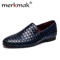 Merkmak 2017 Men Shoes Luxury Brand Braid Leather Casual Driving Oxfords Shoes Men Loafers Moccasins Italian