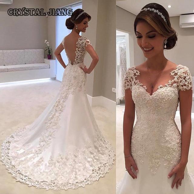 Weiß Elfenbein Mantel Spitze Brautkleider v ausschnitt Illusion ...