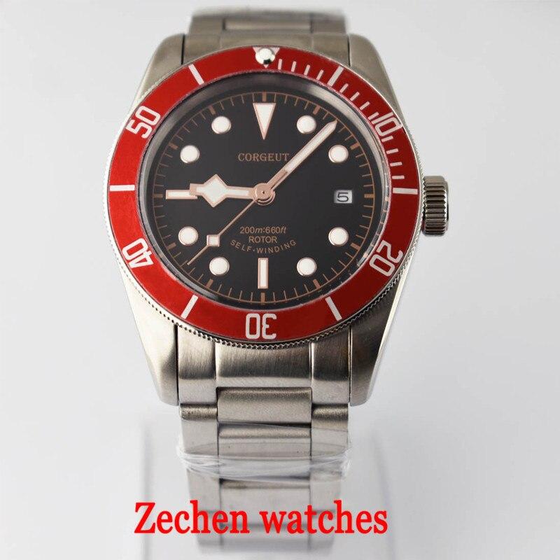 лучшая цена 41MM Corgeut mechanical watch Miyota automatic mechanical watch stainless steel strap waterproof luminous men's business watch